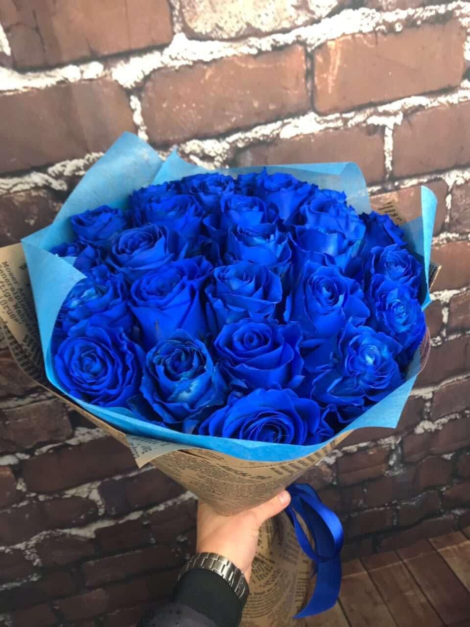 Букет, купить синие розы цветы фото